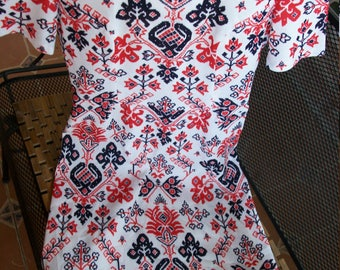 Faux Needlepoint Cross-stitch Floral Red/White/Blue Vintage Wiggle Dress