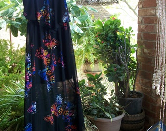Black Butterfly 70s Flowy Hippie Dress-Medium