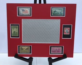 Military 8x10 photo mat frame with vintage patriotic stamps honoring service members