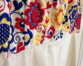 Vintage handmade off white spaghetti strap a line empire waist dress gorgeous red yellow blue primary colors floral embroidery wedding