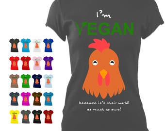 I'm Vegan 'Chicken' - LADIES fitted T-Shirt printed with 100% VEGAN, organic and toxin-free ink from PASSOOM
