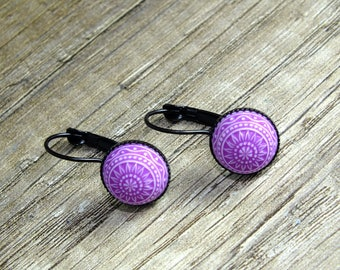 Pastel mosaic flower, cabochon earrings, purple-white