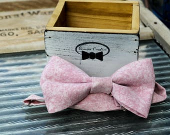 Pink Floral Bow Tie Handmade
