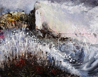Lighthouse, sea,storm, painting, picture,art , print, ocean, nature, wind, rain, acrylic, gift