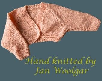 Brand New, Hand Knitted Peach Bolero Cardigan Baby clothes