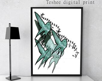 Digital print, Birds, Printable art, Instant download, Jpg file, Home decor, Wall art