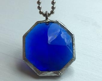 Cobalt blue vintage rhinestone pendant