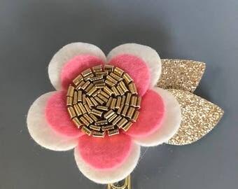 Pink and White Felt flower