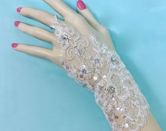 Fingerless White Gloves,  Fingerless Lace Gloves, White Wedding Gloves, White Bridal Gloves, White Wedding Gloves