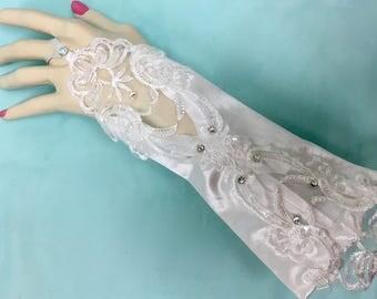 Fingerless White Gloves, Fingerless Black Gloves, Fingerless Lace Gloves, White Wedding Gloves, Black Wedding Gloves,
