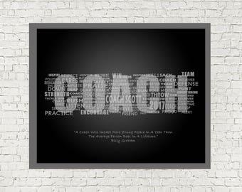 Football Coach Print, Football Digital Print, Football, Football Wall Art, Football Decor, Printable, Coach Gift, End of Season