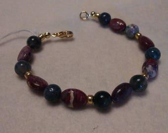 Beaded bracelet Moss Agate and Fancy Jasper