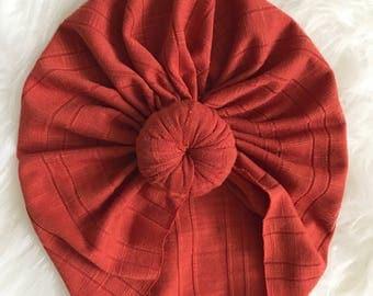 Rust orange baby totknot turban