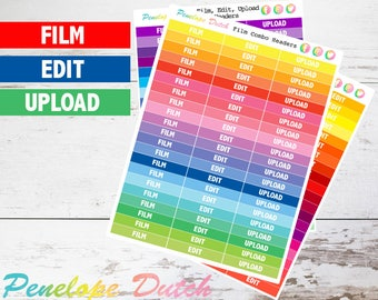 Film Combo: Film + Edit + Upload  Header Planner Stickers | Rainbow, Cool and Warm