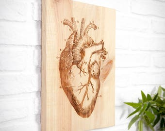 Recycled heart engraved wooden sign.