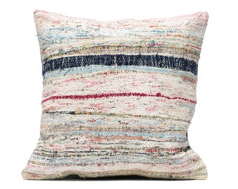 muted color pillow 20x20 Turkish pillow decorative pillow rug pillow cotton pillow cover hippie throw pillow striped vintage rag rug cushion