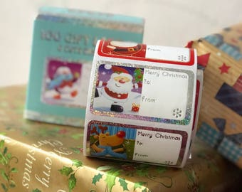 100 Holographic Foul Christmas Gift Labels, Cute Design Label Stickers, Self-Adhesive Sticker