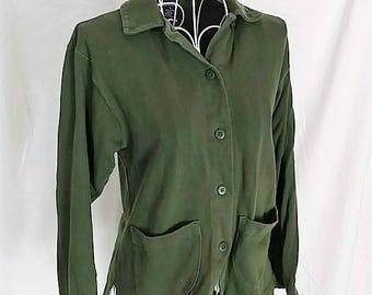 1990s vintage olive hunter green jersey cotton jacket size small 90s dark moss casual blazer
