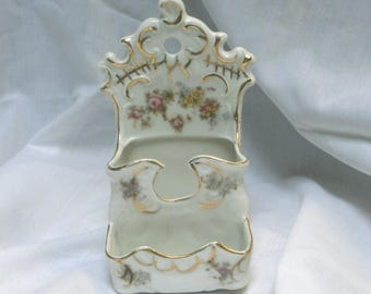 wall hanging china box/container/antique/glazed/1890s/Shabby Chic/Austria