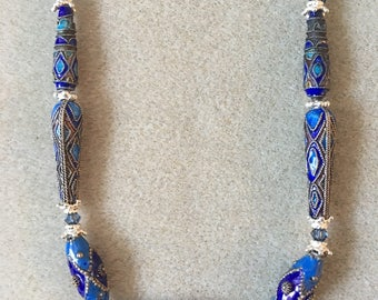 Ethnic Enameled Bead Necklace