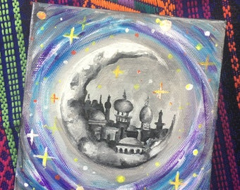 canvas painting; acrylic; moon city