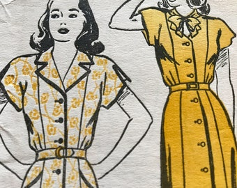 Glamorous Keyhole Neck 1940's Dress Pattern---New York Pattern 894---Size 14 Bust 32