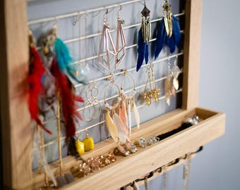 Solid oak jewelry organizer.  Holder for earrings, rings, and necklaces.