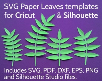 SVG Leaves for Cricut and Silhouette - SVG Leaf Set / Paper Leaves Template