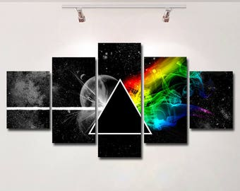 Pink Floyd poster the dark side of the moon canvas wall art print wall hanging home decor High Quality 5 piece set Birthday Gift kids room
