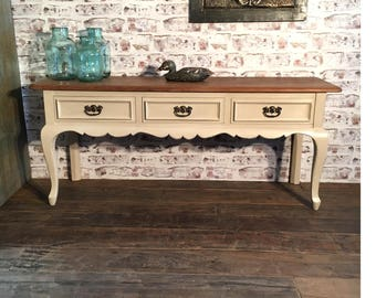 French style side table with cabriole legs and a shaped front frieze. Console table. Individually hand made.