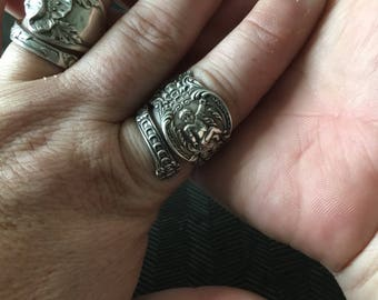 1895 Ariel Cherub Sterling Silver Adjustable Spoon Ring