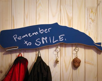 Wooden wall mount rack with chalkboard Whale
