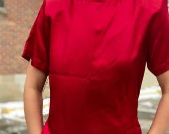 silky shiny red boxy short sleeve blouse with key hole back
