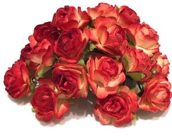Two Tone Orange Open Mulberry Paper Roses Or085