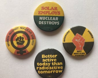 4 Pack Environmentalist Green Energy Anti Nuclear Solar Power Feminist Retro Style Remake Badges