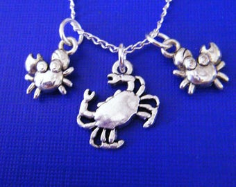 "Antiqued silver charms with 18"" silver plated chain necklace Sea Crabs"