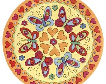 """doodle-carpet  """"Schmetterlingstanz Teppich 150 x 150 cm rund"""""""