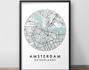 Amsterdam City Print, Street Map Art, Amsterdam Map Poster, Amsterdam Map Print, City Map Wall Art, Amsterdam Map, Travel Poster, Holland