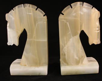 "Vintage Handcrafted Marble Quartz Horse Head Book Ends 6 1/4"" Tall"