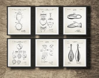 Bowling Gift Set of 6 Prints | Bowling Print | Bowling Patent Print | Bowling Gift | Bowling Set of 6 Posters INSTANT DOWNLOAD