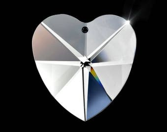 Set of 5- 28mm Asfour Crystal Heart Prism Sun Catchers