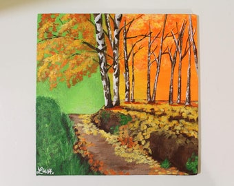 Autumn Trail Acrylic Painting