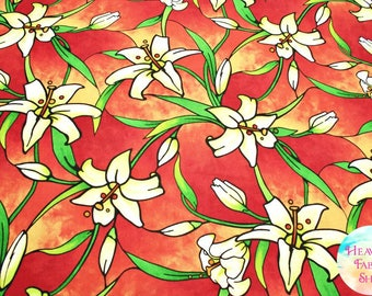Rejoice Sunglow Stained Glass Easter Lilies Cotton Fabric