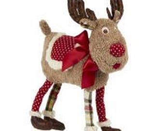 Christmas Short-Legged Deer with Red Polka-Dot Blanket