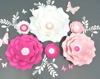 Pink paper flowers nursery wall. Large white paper flowers wall. Nursery pink flowers wall. Wedding white flowers wall. Girls room flowers.