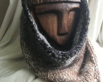 Natural Tone Alpaca Cowl - Hand Knit and Hand Spun