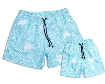 "Swim shorts ""Turquoise"", Partnerlook father son set price!"