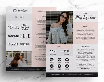 Media Kit Template for Bloggers, Price List + Press Kit, Blogging Media Kit, Advertising Rate Sheet, Social Influencer + Instagram Photoshop