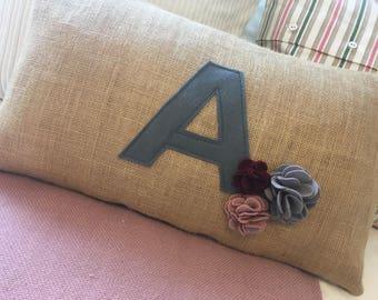 Letter cushion, flower cushion, personalised cushion, initial cushion, colour letter, Hessian fabric, modern home decor, childrens room