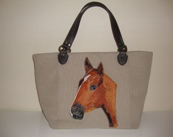 Horse, Bag, Handbag, leather handles, canvas weave 100% Polyester. foam interlining , cotton interior lining, fabric, tote, messenger,pets
